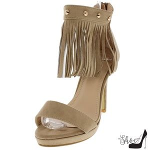 The Shoe Loft Shoes - Hailey Studded Fringe Open Toe Heels